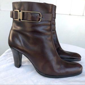 Franco Sarto brown leather heeled booties